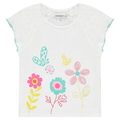 Short-sleeved slub jersey tee-shirt with embroidered and printed flowers