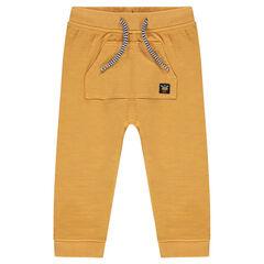 Fleece sweatpants with a kangaroo pocket