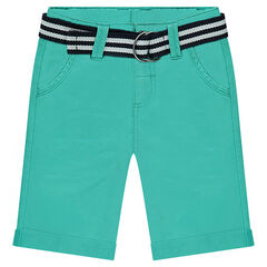 Plain-colored twill bermuda shorts with a removable striped belt