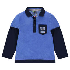 """Long-sleeved 2-in-1 effect polo shirt with pocket and """"London"""" badge"""