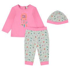 3-piece newborn set with tee-shirt, pants and cap