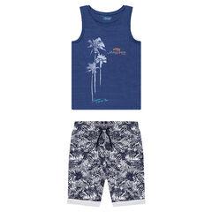 Junior - Ensemble avec débardeur en jersey et bermuda imprimé végétal all-over
