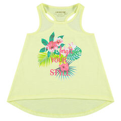 Racerback tank top with decorative print