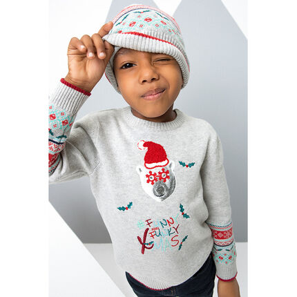 Knit Christmas sweater with bear print and jacquard motif
