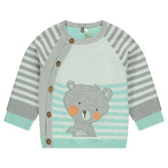 Knit cardigan with teddy bear patch and contrasting stripes