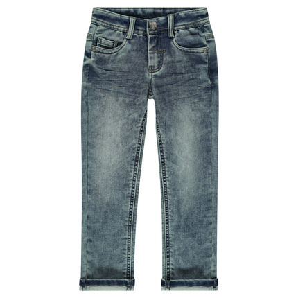 Worn jeans-effect fleece pants