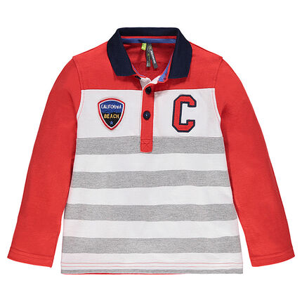 Long-sleeved, striped, jersey polo shirt with badges