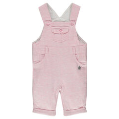 Heathered jersey overalls with a printed lining