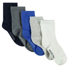 Set of 5 pairs of plain-colored socks