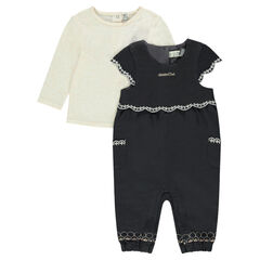 Ensemble with plain-colored tee-shirt and 2-in-1 effect playsuit
