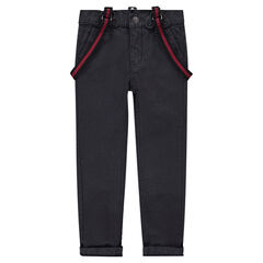 Plain-colored canvas pants with adjustable and removable suspenders