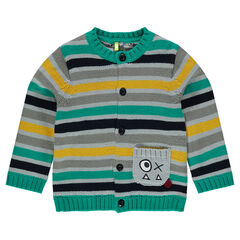 Knit cardigan with jacquard stripes, a pocket and embroidery
