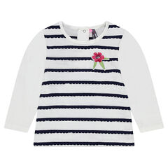 Long-sleeved tee-shirt with scalloped stripes and an embroidered flower