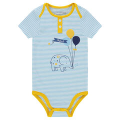 Striped short-sleeved bodysuit with an elephant print