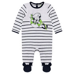 Striped jersey footed sleeper with Mickey Mouse print