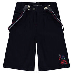 Baggy, divided skirt-style 3/4 pants with straps