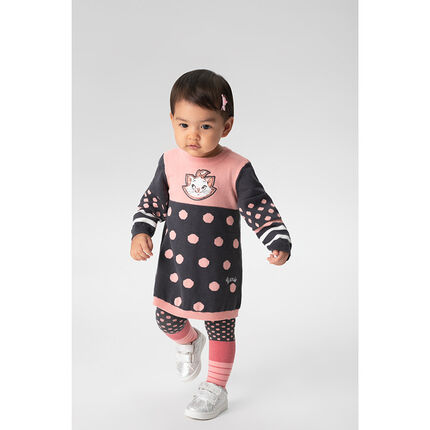 Long-sleeved knit dress with polka dots and ©Disney Aristocats Marie badge