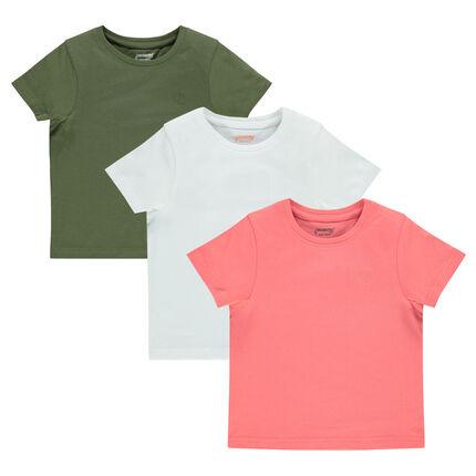 Junior - Set of 3 short-sleeved plain-colored tee-shirts