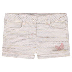 Tweed-effect cotton shorts with embroidered butterfly