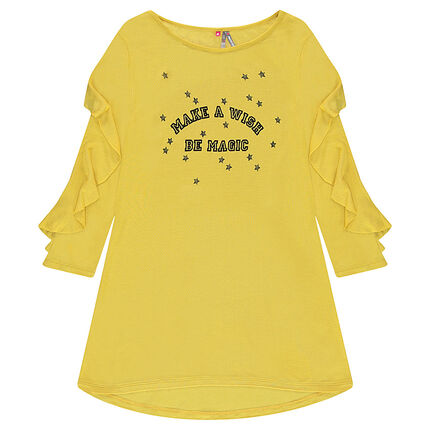 Viscose tunic with frilled sleeves and a printed message
