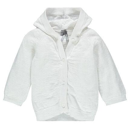 Plain-colored slub knit hooded cardigan