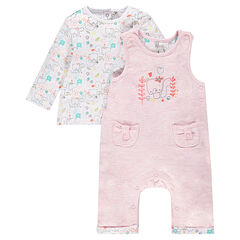 Ensemble with tee-shirt and embroidered overalls for newborns