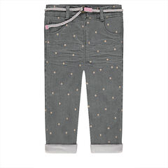 Crinkled-effect jeans with allover stars and a removable belt
