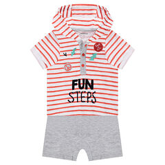 Short 2-in-1 effect hooded jumpsuit with badges