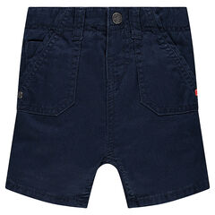 Plain-colored twill bermuda shorts