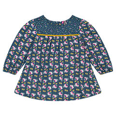 Flowery tunic in viscose voile fabric