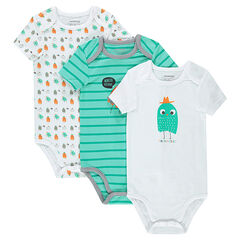 Set of 3 short-sleeved printed jersey bodysuits with printed monsters