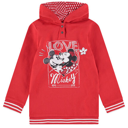 Long hooded fleece sweatshirt with a sparkly ©Disney Mickey and Minnie Mouse print