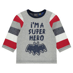 Long-sleeved tee-shirt with message and BATMAN screen print