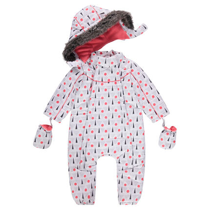 Polar fleece-lined ski suit with a graphic print