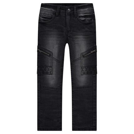 Used-effect slim fit jeans with zipped pockets