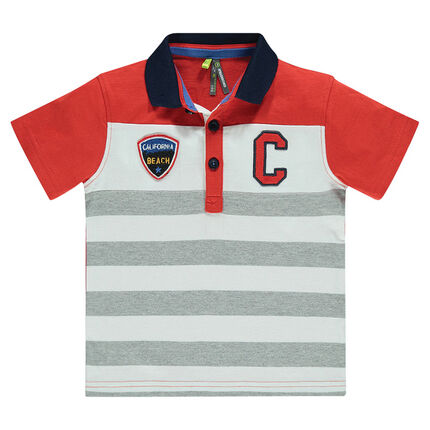 Short-sleeved, striped, jersey polo shirt with badges