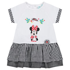 2-in-1 effect dress with Disney Minnie Mouse print and gingham hints