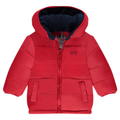Hooded down jacket with microfleece lining