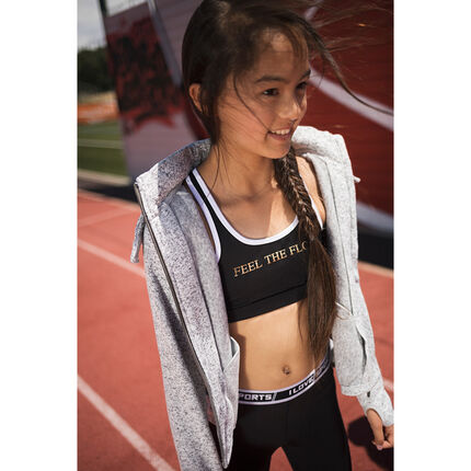 Junior - Sports bra with printed message in golden foil