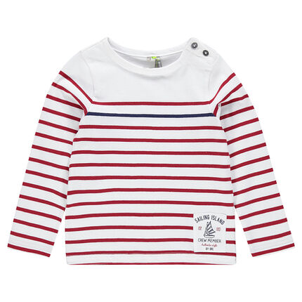 Jersey sailor-stripe shirt with boat printed on twill label