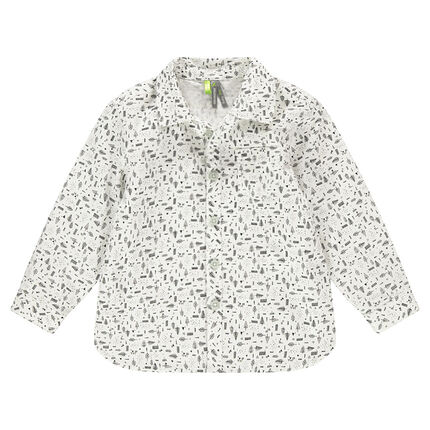 Long-sleeved shirt with an allover print
