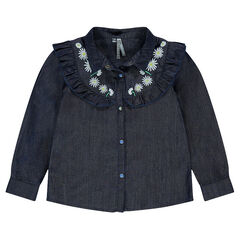 Junior - Tencel blouse with frill and embroidery