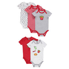 Set of 5 short-sleeved bodysuits with junk food print