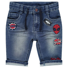 Used-effect bermuda shorts with embroidered ©Marvel Spiderman badges