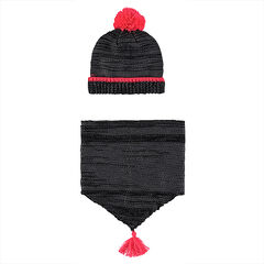 Sherpa-lined knit cap and snood ensemble with shiny effect