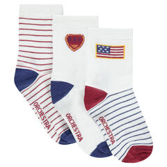 Set of 3 pairs of assorted socks with motif and stripes