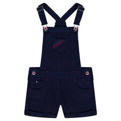 Short cotton overalls with embroidery