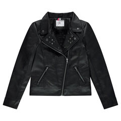 Junior - Leather-effect biker jacket with sherpa lining and metallic rivets