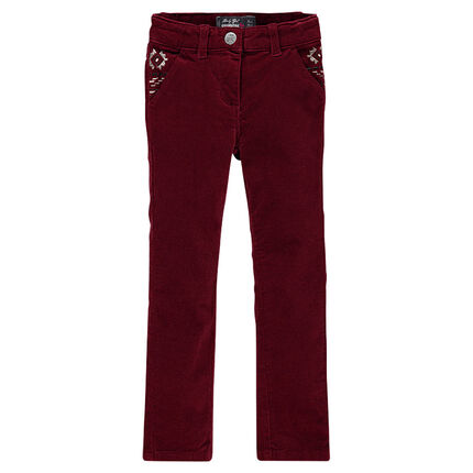 Velvet slim trousers with ikat embroidery