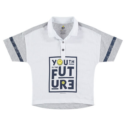 Short-sleeved boxy fit jersey polo shirt with a ©Smiley print